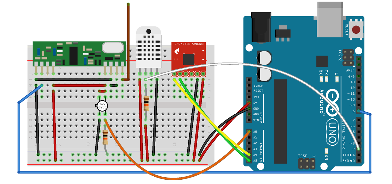 atMETEO sensor setup on breadboard